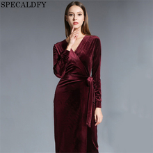 2017 Autumn Winter Dresses Women Long Sleeve V-Neck Red Velvet Dress Pencil Sexy Evening Party Dresses Christmas Robe Femme(China)