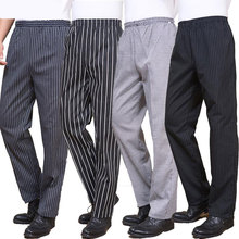 Spring and summer food service Free Shipping autumn Cook pants work pants checked striped chef pants unisex chef trousers(China)