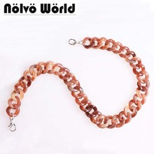 1 piece 60cm 120cm 180cm 2.4cm Wide Nice Granite Color Plastic Chain Resin Acrylic Lady Bag Strap Chains Obag Handle Purse Chain(China)