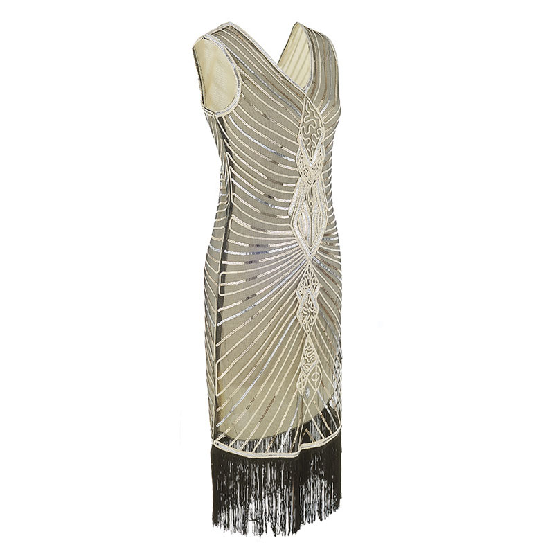 Women Gatsby Dress Geometric Sequins Mesh Patchwork Vintage Flapper 1920s Fringed Dress Bodycon Club Party Dresses Plus Size (3)