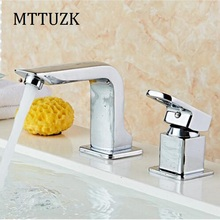 MTTUZK Free Shipping 2 Piece Bathroom Faucet Basin Faucets Deck Mounted Bathroom Tap Set 2 Hole Faucet Mixer  Crane 2pcs/set