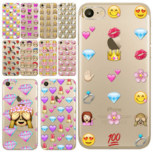 Lovely Expression Back Cover for Apple iphone 7 Funny Emoji Painted Soft  Slim Sillicon TPU Protective Phone Case