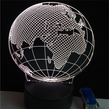 Acrylic 3W 5V led party earth globe night light fixtures colorful with touch button event party supplies led flash lights lamp(China)