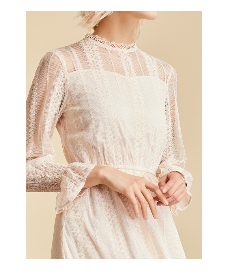 Vimly Elegant Mesh Lace Embroider Women Dress Stand-Neck Flare Sleeve Party Dresses Sexy Midi Elastic Waist Hollow Out Dress 6