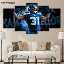 HD Printed 5 piece canvas art seattle seahawks Rugby player Canvas Painting wall picture for living room Free shipping/up-1440A