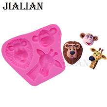3D Lion Giraffe Monkey Fondant chocolate silicone mold for cake decorating tools clay/rubber Kitchen Baking mould T0923(China)