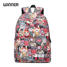 Korean Style Cartoon Robot Waterproof Backpacks Female Printing Unique Design Casual Student Teens Book Bags(China)