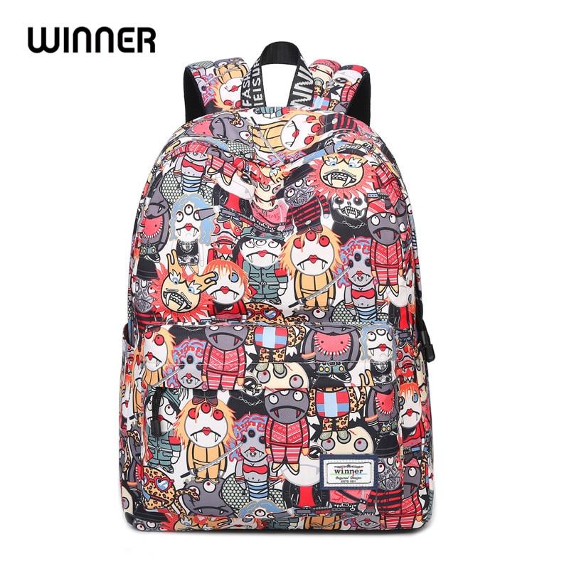 Korean Style Cartoon Robot Waterproof Backpacks 2017 Female Printing Unique Design Casual Student Teens Book Bags<br>