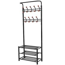 Best 18 Hooks Metal Clothes/Hat Hanger Tree Hall Stand Coats Rack/Stand with Shoes Storage Shelves (Black)