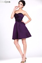 Freeshipping Sweetheart A Line Purple Satin Formal Wedding Party Gown Bridesmaid Dress(China)