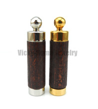 Dark Brown wood aroma pendant free shipping in 316L stainless steel vial pendant for essential oil perfume bottle pendant(China)
