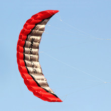 Free Shipping High Quality 2.5m Red Dual Line Parafoil Kite WithFlying Tools Power Braid Sailing Kitesurf Rainbow Sports Beach(China)