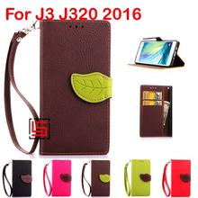 New Leaf Clasp PU Leather Lether Flip Wallet Phone Cell Case Cover For Samsung Galaxy J3 J320 2016 J 3 J320F Green Black Brown