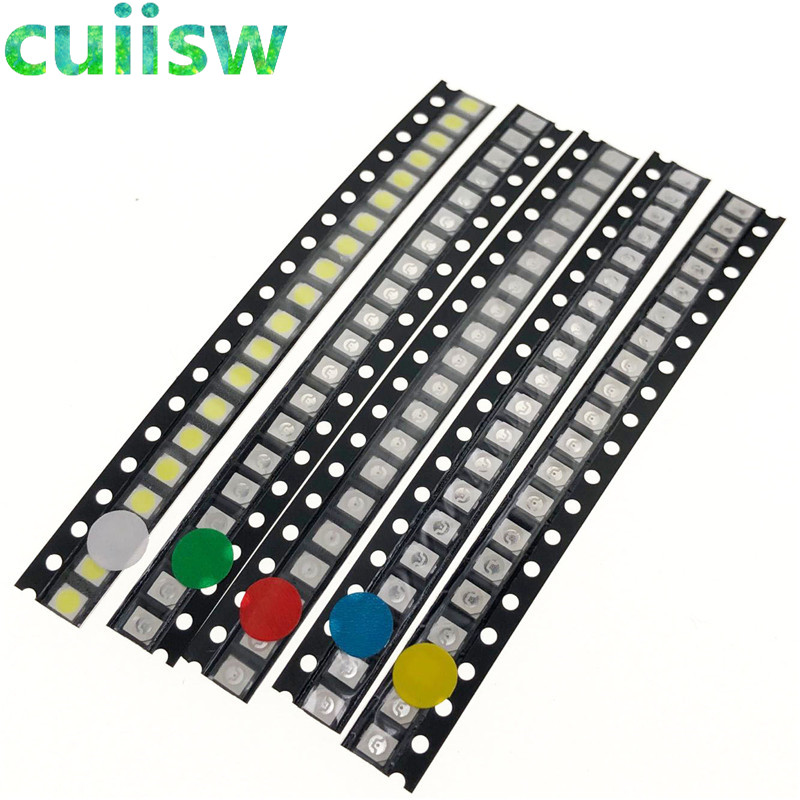 Active Components Honesty 500pcs Smd Led 5050 Diodes Light Emitting Diodo Smd 5050 Led Beads Super Bright White Red Blue Yellow Jade-green Rgb Diodes