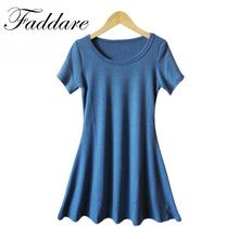 Women Summer Sress New Korean Girl Mini Dress Short Sleeve Candy Color One-piece Slim Basic Mini Dress