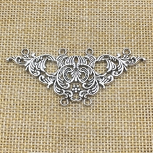 5Pcs Vintage Flower Holes Connectors Antique Silver Color Jewelry Findings Handmade Crafts(China)