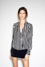 Heat Pin Depth V Lead Long Sleeve Woman Shirt EBAY Black And White Stripe Crossing Shirt 1073