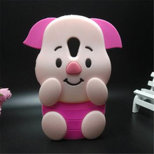 Soft silicone phone cover case For Motorola MOTO G2 XT1068 XT106 3D cute cartoon rose red big ears pig