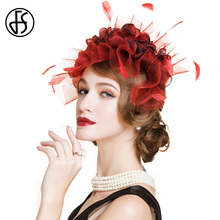 FS British Style Lady Wine Red Wedding Pillbox Hat Fashion Flowers Banquet Cocktail Hats For Women