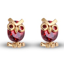 Trendy Red Owl Animal Bird Earrings Imitation Crystal Gold color Stud Earrings Zinc Geometric Statement Jewelry Women Gift