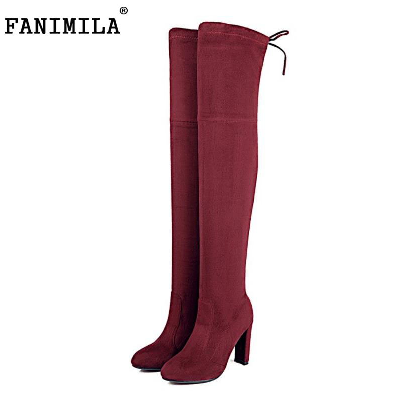 FANIMILA Women Stretch Slim Suede Over the Knee Boots Thigh High Boots Sexy Fashion High Heel Shoes Woman Black Grey Size 34-43<br>