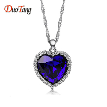 DuoTang Titanic Ocean Heart Pendant Necklaces For Women Blue Crystal Rhinestone Silver Plated Metal Choker Necklace Jewelry(China)