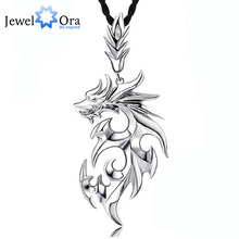 Dragon Shape Accessories Necklaces & Pendants For Men New Fashion Silver Color Jewelry Necklace Gift For Dad(Jewelora NE101104)(China)