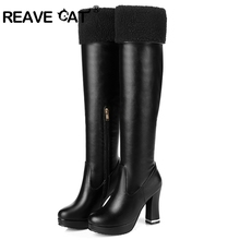 REAVE CAT Latest Women High heels Fashion boots Winter Causal Folding Zip PU Thick High heel Round toe Black White Brown RH3125