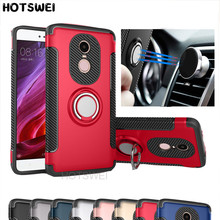 HOTSWEI Case For Xiaomi Redmi Note 4X Note 4 Global Version Rubber PC TPU Finger Ring Stand Armor Double Layer Protective Case