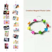 2pcs 1.5M High Quality Silver Magnetic Cable Photo Or Card Holder With 8 cartoon wooden Star Image Magnet