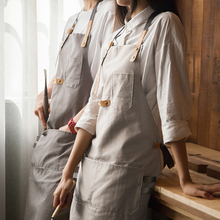 Korean Fashion Cotton Coffee Shop Apron Studio Artisan Painting Baking waiter work wear cloth Free print logo 1 pc