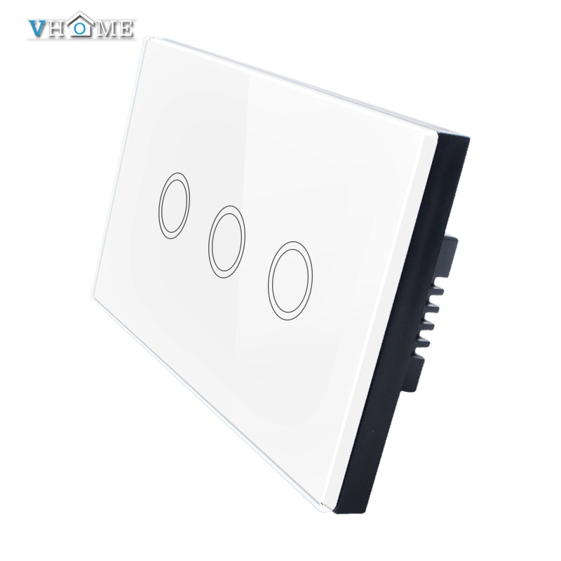 Hot-selling Vhome US/AU Standard 220v Touch Switch Wall Switch 3 Gang 1 Way White Glass Panel Touch Switch For Smart Home<br><br>Aliexpress
