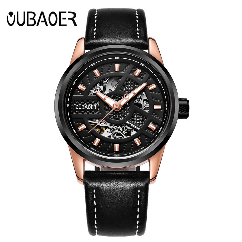 OUBAOER 2017 Relogio Masculino automatic Mens Watches Top Brand Luxury skeleton wristwatches mechanical gold watch Tourbillon A<br>