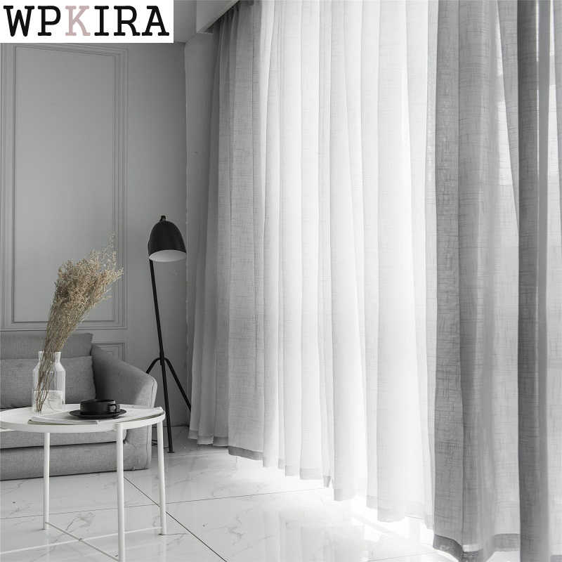 White Cotton Linen Tulle Curtains Decorative Hotel Modern Fashionable cortina para janela de quarto Modern Blue Curtains S053&30