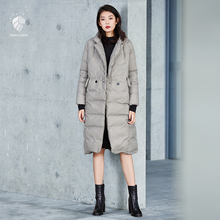 FANSILANEN 2017 Fashion New Arrival Vintage Autumn/Winter Dark Gray/Black/Red Loose Womens Down Coat Brands Z6876(China)