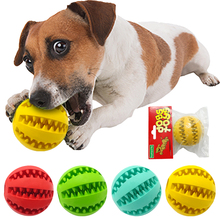 Nontoxic Rubber Pet Dog Tooth Cleaning Ball Toy Puppy Cat Training Interactive Chew Toys Bite Resistant Red Green Blue Yellow(China)