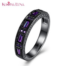 Vintage Hopeful Green Jewelry Keisha Lena Zircon Wedding Ring Men Women Anel Aneis Fashion Black color Engagement Rings