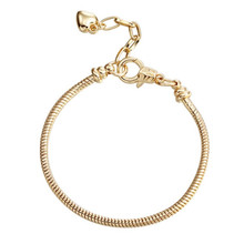 10 pcs /Lot Golden Lobster Clasp Snake Chain Charm Heart Bracelets & Bangles For European Beads Jewelry DIY Sets pp15
