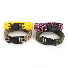 Wholesale Camping Hiking Emergency ParaCord Bracelet For Men Women Survival Parachute Rope Whistle Buckle Kit Wristbands