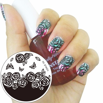 1Pc Rose Butterfly Design Nail Art Polish DIY Stamping Plates Image Templates Nail Stamp Stencil Stamping Plates Nail Tools
