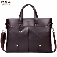 VICUNA POLO Famous Brand Simple Mens Leather Briefcase Bag Solid Large Business Man Bag Laptop Handbag pasta executiva masculino
