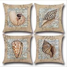 45cm*45cm Marine life conch 2 Cotton and linen pillow cover sofa  pillow case  Car seat cushion cover decorative pillows