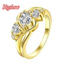 2016 Fashion New Women Engagement Austrian Crystal 24K Yellow Gold Filled Full Zircon Ring Wedding Bride Jewelry R166-B-8