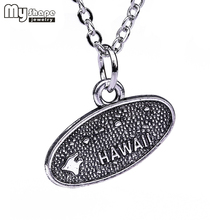My shape Hawaii State Charm US Map Series Necklaces American Map Symbol necklace Pendant Accessories 2018 NEW(China)