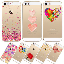 Watercolor Butterfly Pink Love Heart Case For iphone 5 5S SE Transparent Silicon Soft TPU Protective Cell Phone Cover