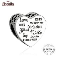 SHEALIA Celebration Love/Kiss/Happiness/Joy/Vows/Forever Heart Charms Fit Pandora Bracelets Silver 925 Original Beads Jewelry