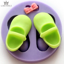 Bowknot Baby Shoes Silicone Chocolate Mold Fondant Cake Decorating Fimo Resin Clay Candy Soap Mould Kitchen Baking Tools XL061
