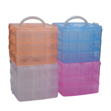 18 Grids Clear Plastic Storage Box Creative Three Layers Removable Plastic Jewelry Bead Cosmetics Storage Container(China)