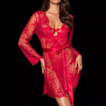 Buy M XL 3XL 5XL Plus Size Lingerie Sexy Lace Kimono Bathrobe Pajamas Women Erotic Lingerie Sexy Babydoll Female Sex Costumes