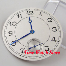 38.9mm white sterial dial blue hands luminous marks watch Dial fit 6498 hand winding Movement (Dial+hands) D62